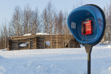 Payphone on the background ruined wooden house in the backwoods Russian photo