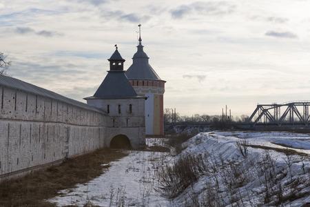 shaft: Vologda, Russia. Tower and shaft Spaso-Prilutsky Dimitriev monastery Stock Photo