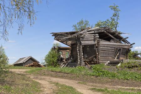 sprawled: Ruins abandoned village. Village Zhavoronkova Verhovazhskogo district Vologda region Russia Stock Photo