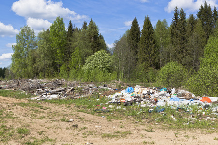 disgrace: Garbage dump in the forest road. Vologda Region Russia