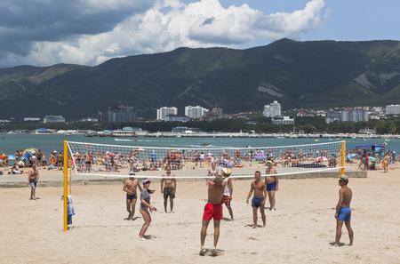 krasnodar region: Young men playing volleyball on the beach resort of Gelendzhik, Krasnodar region, Russia