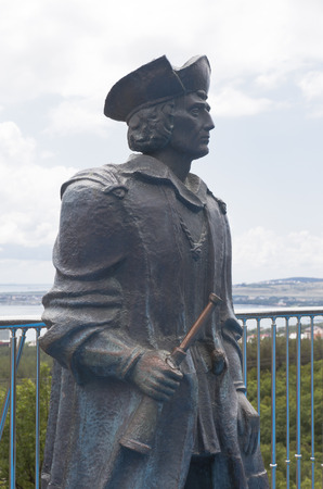 discoverer: Christopher Columbus monument in the maritime museum Safari Park resort town Gelendzhik, Krasnodar region, Russia Editorial