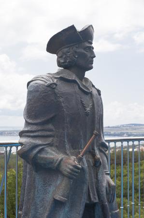 descubridor: Monumento a Cristóbal Colón en el museo marítimo Safari Park ciudad turística región de Gelendzhik, Krasnodar, Rusia