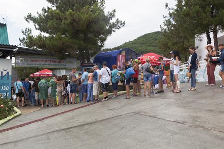 krasnodar region: Queue of people at the lower cable car station at Safari Park Gelendzhik, Krasnodar region, Russia