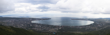 kuban: Panoramic view from the Markotkhsky ridge on Gelendzhik cloudy summer day. Krasnodar region, Russia Stock Photo