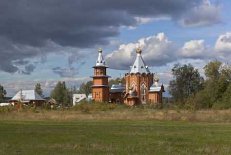 forerunner: Wooden Church of the Nativity of Prophet and Forerunner John the Baptist in a village Zaruchevnya Shilovskaya, Velsky district, Arkhangelsk region, Russia
