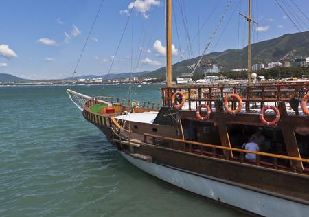 krasnodar region: The bow of sailboat Corsair closeup in Gelendzhik Bay, Krasnodar region, Russia Editorial