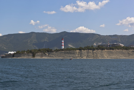 krasnodar region: View from open sea to the Cape Thick Gelendzhik Bay, Krasnodar region, Russia