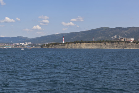 krasnodar region: Log in Gelendzhik Bay and view over the Cape Thick resort Gelendzhik, Krasnodar Region, Russia