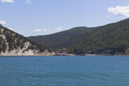bowery: View from of the sea on resort settlement Dzhanhot in Gelendzhik district Krasnodar region, Russia Stock Photo