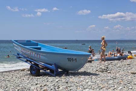 kuban: Lifeguard boat on the beach resort village Praskoveevka in Gelendzhik district Krasnodar region, Russia