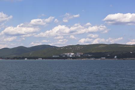 krasnodar: View from of the sea on resort settlement Divnomorskoe in Gelendzhik district of Krasnodar region, Russia