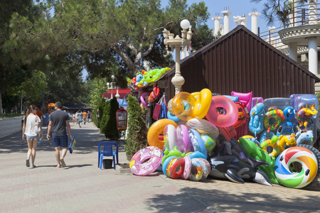 krasnodar region: Beach supplies sale on the waterfront of resort town Gelendzhik, Krasnodar region, Russia