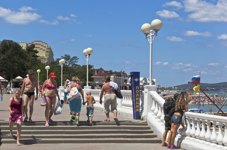 violate: People ignore the ban appear in a swimsuit in public places resort town of Gelendzhik, Krasnodar region, Russia