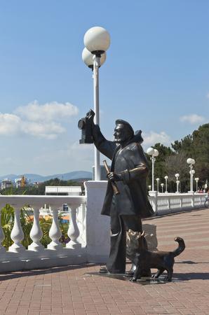 Sculptura The old light keeper on the promenade of the resort Gelendzhik, Krasnodar region, Russia