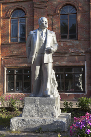 ulyanov: Monument to Lenin at Peoples House in the town Kirillov of the Vologda region, Russia