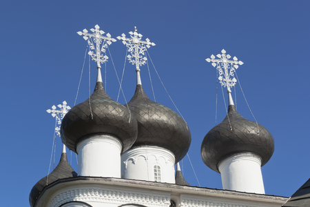 merciful: Domes Church of the Saviour Merciful in the town Belozersk, Vologda Region, Russia Stock Photo