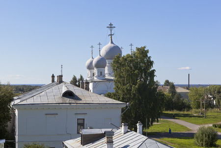 transfiguration: View from the earthen rampart of the building Belozersky Kremlin and Spaso-Preobrazhensky Cathedral in the town of Belozersk Vologda region, Russia Stock Photo
