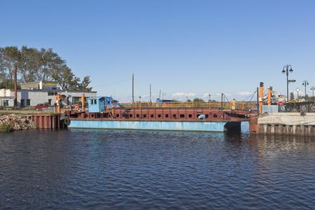 bypass: Ilyinskaya ferry through Belozersky bypass canal in the city of Belozersk Vologda region, Russia