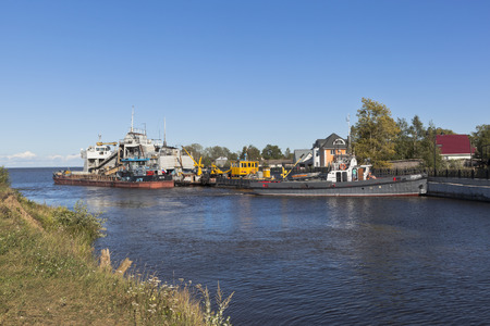 propelled: Vessels of technical fleet at the entrance to Belozersky bypass canal from the White Lake near the town of Belozersk Vologda region, Russia