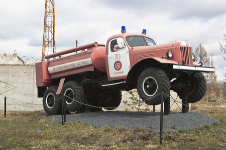 wheel barrel: Fire Truck AC-40 on chassis ZIL 157A near the firehouse in the city Kadnikov, Vologda region, Russia