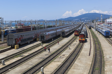krasnodar region: Trains on the sorting station Adler in the Krasnodar region, Russia