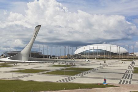 olympic symbol: View of the Olympic Square in Sochi Olympic Park, Adler, Krasnodar region, Russia Editorial