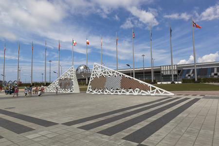 paralympic: Wall of Champions on Olympic Square in Sochi Olympic Park, Adler, Sochi, Krasnodar region, Russia