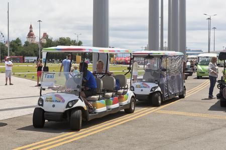 krasnodar region: Electric cars to transport tourists in Sochi Olympic Park, Adler, Krasnodar region, Russia