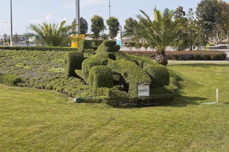 krasnodar region: Lawn with flower bed in the form race car of Formula 1 in Sochi Olympic Park, Adler, Krasnodar region, Russia