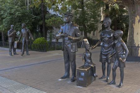 krasnodar region: Sculptural composition with the movie heroes, Diamond Arm about marine station in Sochi, Krasnodar region, Russia