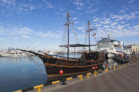 pez vela: Sailfish Reveller at berth Sochi seaport, Krasnodar region, Russia Editorial