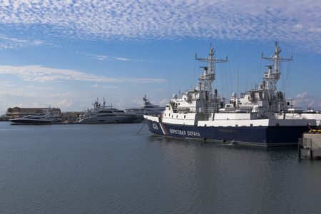 border patrol: Border patrol ship Krasnodarets in Sochi seaport, Krasnodar region, Russia Editorial