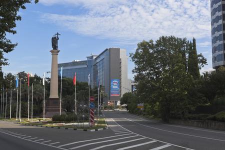krasnodar region: Resort prospectus in Sochi city and the monumental column with a statue of the Archangel Michael, Krasnodar region, Russia