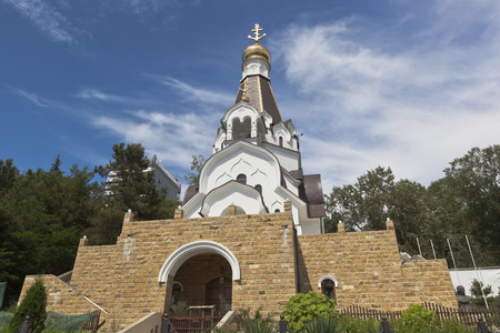 a righteous person: Church of the Holy Righteous Admiral Fedor Ushakov in settlement Kudepsta, Sochi, Krasnodar region, Russia