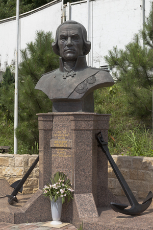 a righteous person: Monument Fedor Fedorovich Ushakov on territory of a temple in settlement Kudepsta, Sochi, Krasnodar region, Russia Editorial