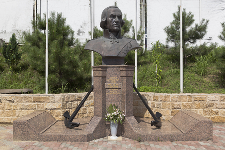 a righteous person: Monument to Fyodor Ushakov in the temple in settlement Kudepsta, Sochi, Krasnodar region, Russia
