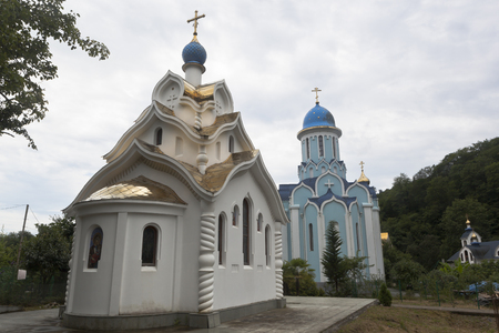 our lady of sorrows: Temples of Icon of Our Lady and of the martyr Huara in the Trinity-Georgievsky convent in village Lesnoye, Sochi, Adler district Krasnodar region, Russia