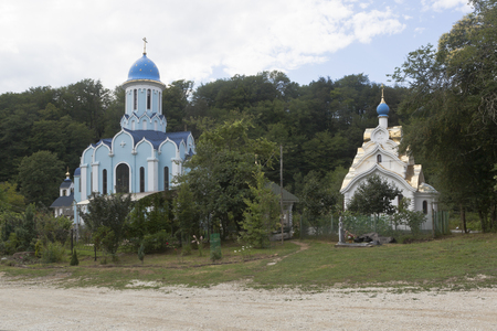 Temples in honor of Martyr Huara and Icon of Our Lady Soothe My Sorrows Trinity-Georgievsky female monastery in village Lesnoye Adler district Krasnodar region, Russia