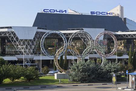 krasnodar: Olympic rings on the territory of Sochi Airport, Adler, Krasnodar region, Russia Editorial