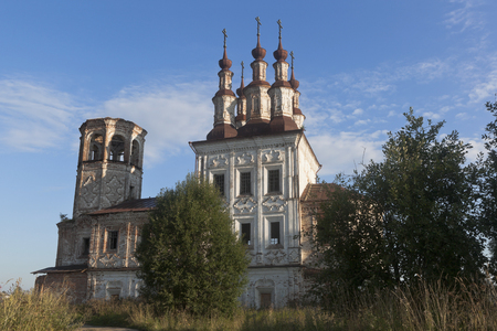 Abandoned temple of the Resurrection in village Varnitsy, Totemsky district, Vologda region, Russia Stock Photo