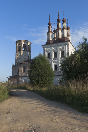 Destroyed the temple of Resurrection of Christ in village Varnitsy, Totemsky district, Vologda region, Russia Stock Photo