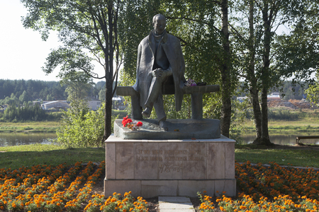 poems: Monument to the poet Nikolai Mikhailovich Rubtsov in the city of Totma, Vologda Region, Russia