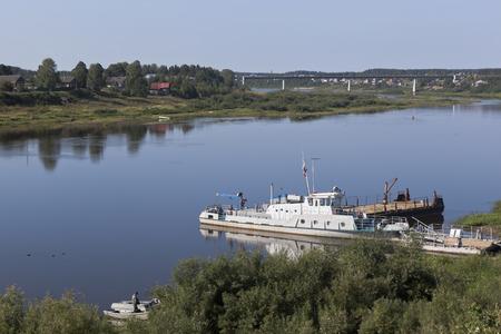Sukhona River in the city of Totma, Vologda Region, Russia