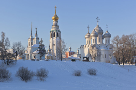 Winter landscape with a churches in the city of Vologda, Russia