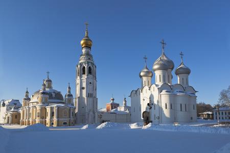 Kremlevskaya Square in the city of Vologda in winter, Russia Stock Photo