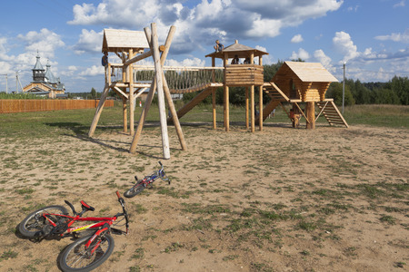 Playground on street Culture in the village of Nyuksenitsa, Vologda region, Russia