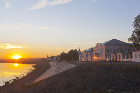 veliky: Summer Sunset on the waterfront Sukhona River in the city of Veliky Ustyug, Vologda region, Russia