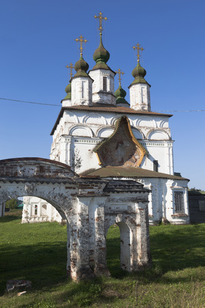 Church of Demetrios of Soluneia and the remains of the church fence gate in Dymkovo Sloboda Veliky Ustyug, Vologda region, Russia