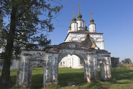 Holy Gates and the Church of Demetrios of Soluneia in Dymkovo Sloboda of the city Veliky Ustyug, Vologda region, Russia